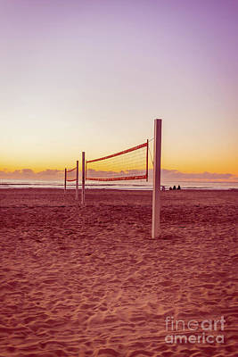 Missions San Diego Photograph - Volleyball Nets Sunset On Mission Beach by Edward Fielding