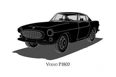 Digital Art - Volvo P1800 - Front View by David Marchal