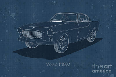 Digital Art - Volvo P1800 - Front View - Stained Blueprint by David Marchal