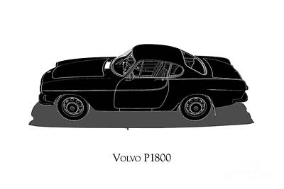 Digital Art - Volvo P1800 - Side View by David Marchal