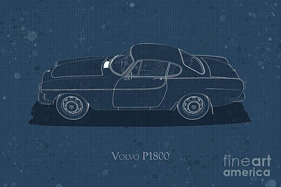 Digital Art - Volvo P1800 - Side View - Stained Blueprint by David Marchal