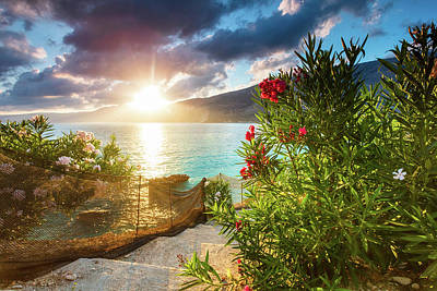 Photograph - Vouti Beach, Kefalonia, Greece - Incredible Summer Sunrise By Th by Evgeni Dinev