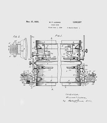 Digital Art - W F Ludwig Snare Drum Patent by Paulette B Wright