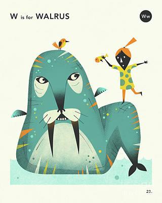 Illustration Digital Art - W Is For Walrus 2 by Jazzberry Blue