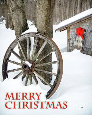 Photograph - Wagon Wheel Merry Christmas Card by Alana Ranney