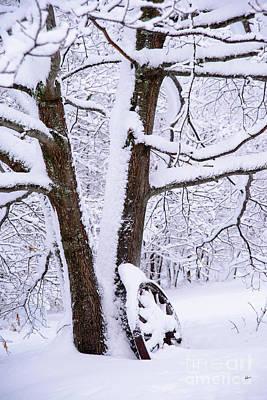 Photograph - Wagon Wheel Snowy Scene by Alana Ranney
