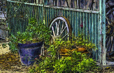 Photograph - Wagon Wheels And Potted Plants Abstract by Barbara Snyder