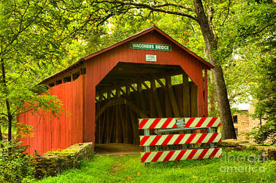 Photograph - Wagoner Covered Bridge Entrance by Adam Jewell