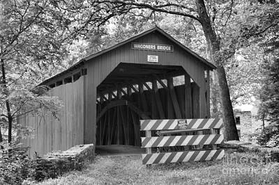 Photograph - Wagoner Covered Bridge Entrance Black And White by Adam Jewell
