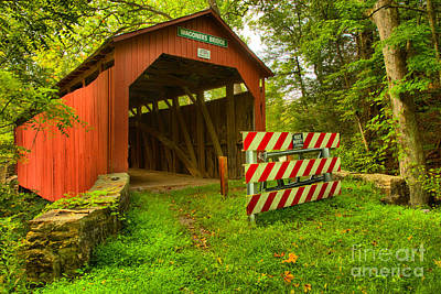Photograph - Wagoner Covered Bridge Lush Landscape by Adam Jewell