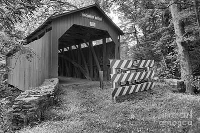 Photograph - Wagoner Covered Bridge Lush Landscape Black And White by Adam Jewell