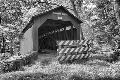 Photograph - Wagoner Covered Bridge Black And White by Adam Jewell