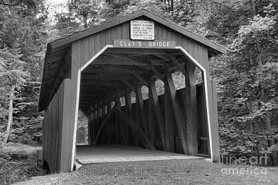 Photograph - Wahneta Covered Bridge Black And White by Adam Jewell