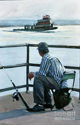 Southie Wall Art - Painting - Waiting At Castle Island II by Deb Putnam
