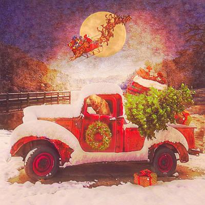 Digital Art - Waiting For Santa In Square Old Postcard by Debra and Dave Vanderlaan