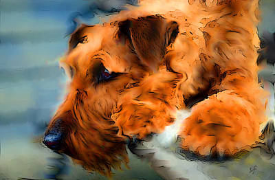 Digital Art - Waiting For The Master, Red Dog Portrait by Shelli Fitzpatrick