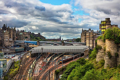 Photograph - Waiting For The Train Downtown Edinburgh Overlooking The Train  by Debra and Dave Vanderlaan