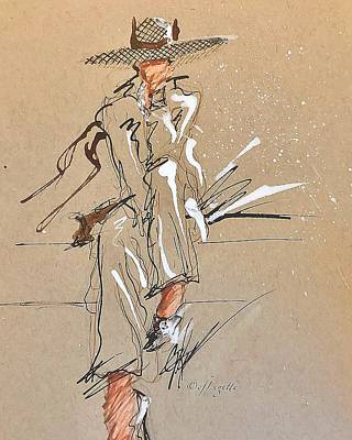 Drawing - Waiting Outside  by C F Legette