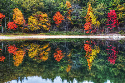 Photograph - Walden Pond Fall Foliage Concord Ma Reflection by Toby McGuire
