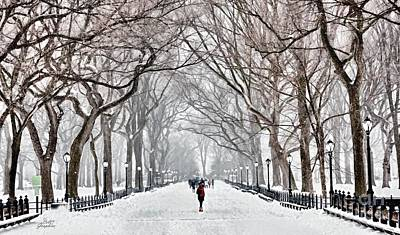 Digital Art - Walking In The Park Nyc by CAC Graphics