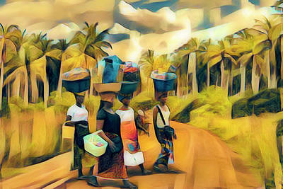 Photograph - Walking To Market In Abstact Shapes Painting by Debra and Dave Vanderlaan