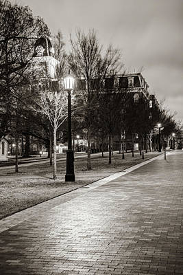 Photograph - Walking To Old Main - University Of Arkansas Classic Sepia by Gregory Ballos
