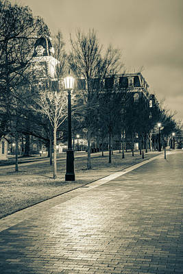 Photograph - Walking To Old Main - University Of Arkansas Sepia by Gregory Ballos