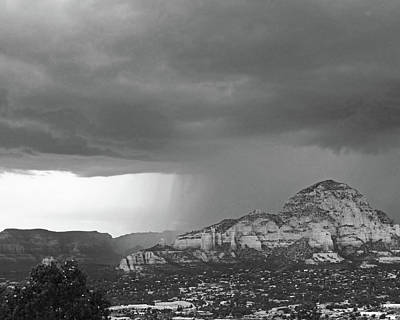 Photograph - Wall Of Rain Over Sedona Az Red Rock Black And White by Toby McGuire