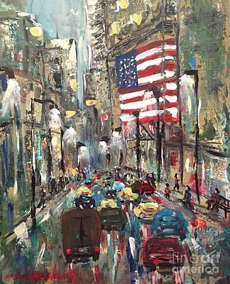 Painting - wall street NY by Miroslaw  Chelchowski
