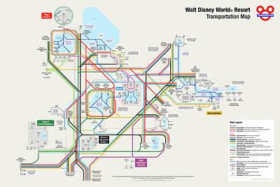 Walt Disney World Resort Transportation Map Art Print