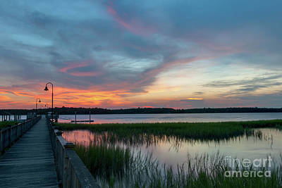 Photograph - Wando River Golden Sunset Sky  by Dale Powell