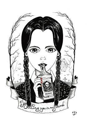 Drawing - Wannesday Addams by Tristan R Rosenkreutz