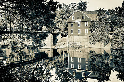 Photograph - War Eagle Mill Reflections - Northwest Arkansas - Sepia Edition by Gregory Ballos