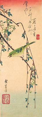Warbler Wall Art - Painting - Warbler On A Plum Branch by Utagawa Hiroshige
