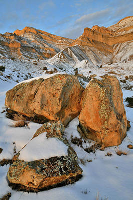 Photograph - Warm Glow On Boulders Beneath The Book Cliffs by Ray Mathis