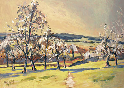 Painting - Warm Spring Light In The Fruit Orchard by Nop Briex