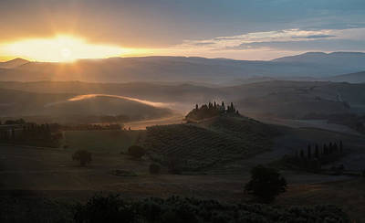 Photograph - Warm Sunrise In Autumn Toscania by Jaroslaw Blaminsky