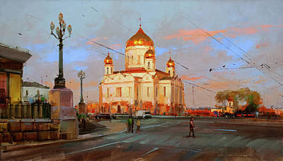 Painting - Warm Walls Of The Temple. Prechistensky Gate Square by Alexey Shalaev