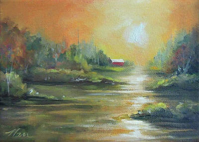 Painting - Warmth By The River  by Nancy Griswold