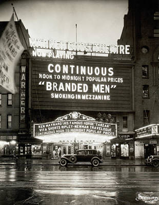 Photograph - Warner Brothers Theatre Marquee by Bettmann