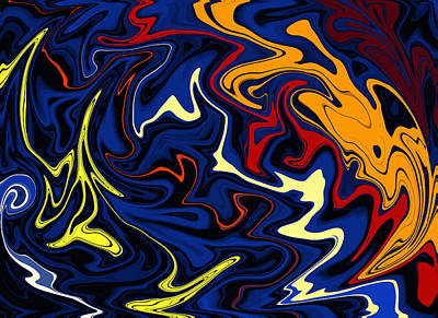 Digital Art - Warped Wet Paint Abstract In Comic Book Colors by Shelli Fitzpatrick