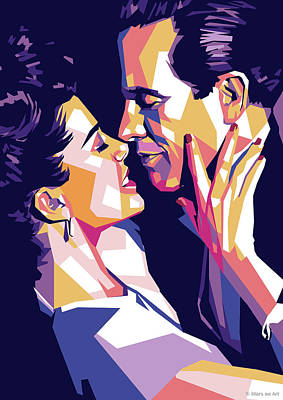 Colorful Button - Warren Beatty and Annette Bening by Stars on Art