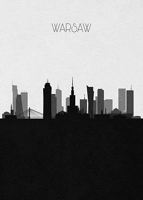 Digital Art - Warsaw Cityscape Art by Inspirowl Design