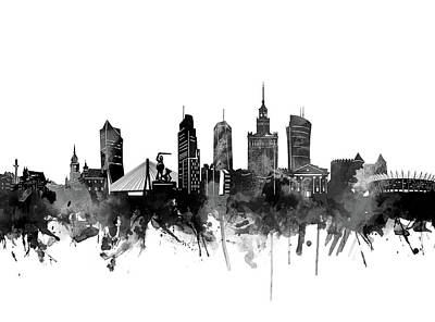 Abstract Skyline Royalty-Free and Rights-Managed Images - Warsaw Skyline Bw by Bekim M