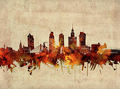 Abstract Skyline Royalty-Free and Rights-Managed Images - Warsaw Skyline Sepia by Bekim M