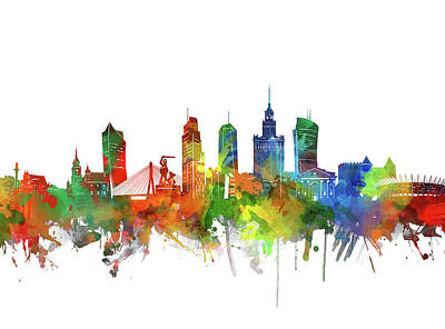 Abstract Skyline Royalty-Free and Rights-Managed Images - Warsaw Skyline Watercolor 2 by Bekim M