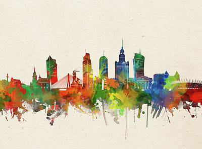 Abstract Skyline Royalty-Free and Rights-Managed Images - Warsaw Skyline Watercolor by Bekim M