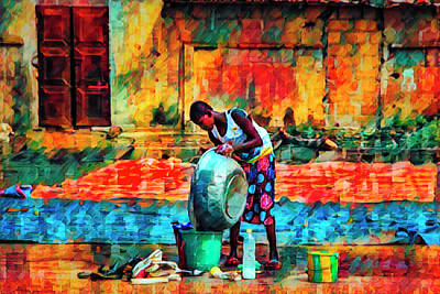 Photograph - Wash Day African Art by Debra and Dave Vanderlaan