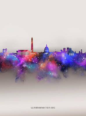 Digital Art - Washington Dc Skyline Galaxy by Bekim M