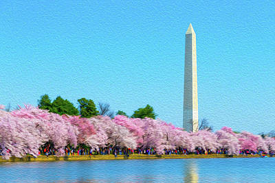 Photograph - Washington Monument And Cherry Blossoms Oil Rendering by SR Green